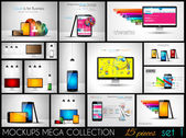 Collection of phone, pc and tablet mockups with infographics. — Vector de stock