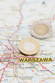 Polish Zloty on Map — Stock Photo
