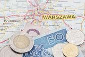Polish Zloty on Map — 图库照片