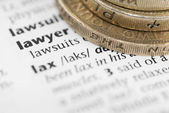 Definition of Lawyer and Pound Coins. — Stock Photo