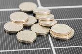 Macro PV Solar Panel and money. — Stock Photo