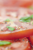 Sliced Tomato, Basil & Seasoning. — Stock Photo