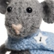 Stock Photo: Crochet Mouse, Handmade, White Background.