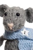 Crochet Mouse, Handmade, White Background. — Stock Photo