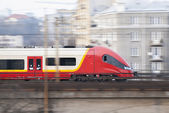Speeding Train, Warsaw, Poland. — Stock Photo