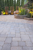 Paver Patio with Garden Decoration and Landscape Lights — Stock Photo
