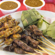 Royalty-Free Stock Photo: Chicken and Mutton Satay with Ketupat Peanut Sauce