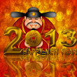 2013 Happy New Year Chinese Money God Illustration — Stock Photo