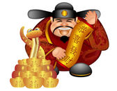 2013 Chinese Money God With Snake And Scroll Wishing Prosperity — Stock Photo
