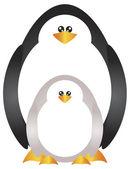 Mother and Baby Penguins Illustration — Cтоковый вектор