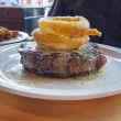 Royalty-Free Stock Photo: Ribeye Steak with Fried Sweet Onion Rings