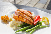 Grilled Salmon Filet Over Basmati Rice — Stock Photo