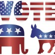 Vote Republican Elephant and Democrat Donkey Illustration - Stock Vector