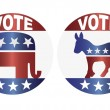 Vote Republican and Democrat Buttons Illustration — Stock Vector