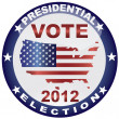 Vote Presidential Election 2012 Button Illustration — Stock Vector