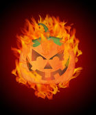 Halloween Carved Pumpkin with Flames Background — Stock Photo