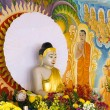 Buddha Statue with Painted Mural Background — Stock Photo