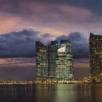 Singapore City Skyline at Sunset Panorama — Stock Photo