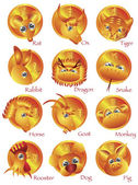 Chinese Zodiac 12 Animals in Gold Circle — Wektor stockowy