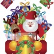 Santa Claus with Reindeer Driving Illustration — Stock vektor
