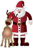 Santa Claus with Reindeer Illustration — Stock Vector