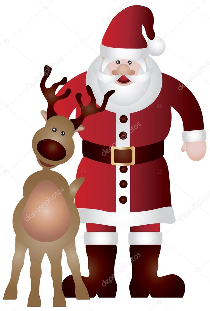 Santa Claus with Reindeer Isolated on White Background Illustration  Stock Vector #13408207