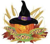 Pumpkin with Pilgrim Hat Illustration — Stock Vector
