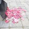 Stock Photo: Raking Fallen Red Maple Leaves Vertical