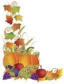 Thanksgiving Fall Harvest and Vines Border Illustration — Stock Vector