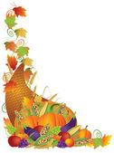 Thanksgiving Cornucopia Vines Border Illustration — Stock Vector