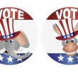 Vote Republican and Democrat with Uncle Sam Hat Buttons Illustra — Stock Vector