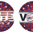 Vote 2012 Presidential Election Buttons Illustration — Stock Vector