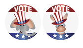 Vote Republican and Democrat with Uncle Sam Hat Buttons Illustra — Vettoriale Stock