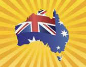 Flaga Australii w mapę sylwetka na ilustracji promienie słońca — Wektor stockowy