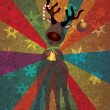 Christmas Reindeer with Bells on Rays Background — 图库矢量图片