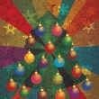 Christmas Tree with Ornaments on Rays Background - Векторная иллюстрация