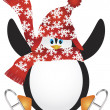 Penguin with Santa Hat Ice Skating Illustration — Stock Vector