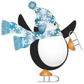 Pingvin med blå hatt skridskoåkning illustration — Stockvektor