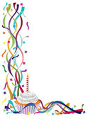 Birthday Cupcake with Ribbons and Confetti — Vector de stock