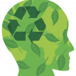 Human Head with Recycle Symbol Illustration — ストックベクタ