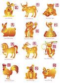 Chinese Twelve Zodiac Animals Illustration — Stock Photo