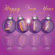 2014 New Year Purple Ornaments — Stock Vector