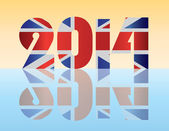 New Year 2014 London England Flag Illustration — Stock Vector
