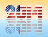 New Year 2014 USA Flag Illustration — Stock Vector