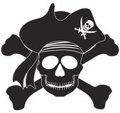 Pirate Skull Black White Illustration — Wektor stockowy