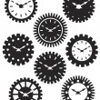 Clock Face in Gears Silhouette Illustration — 图库矢量图片