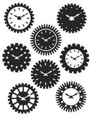 Clock Face in Gears Silhouette Illustration — Stock Vector
