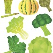 Vegetables Set 2 Illustration Isolated on White Background — Stock Vector
