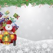 Santa and Reindeer Driving with Garland Illustration — Imagen vectorial