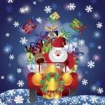 renos de Santa conducción en nieve en la noche illusrtation — Vector de stock